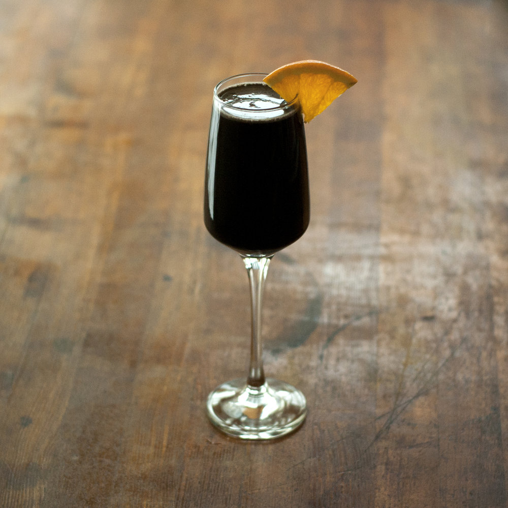 Black Cloud - a cloudberry, dark chocolate, bourbon, activated charcoal cocktail