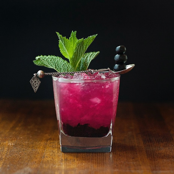 Zen Smash - a blueberry and linden flower whiskey smash