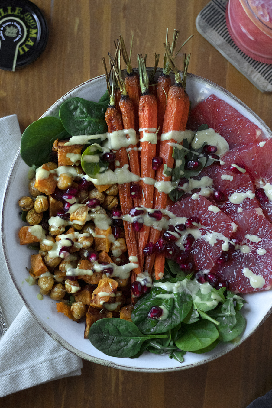 winter vegetable buddha bowl with honey dijon dressing
