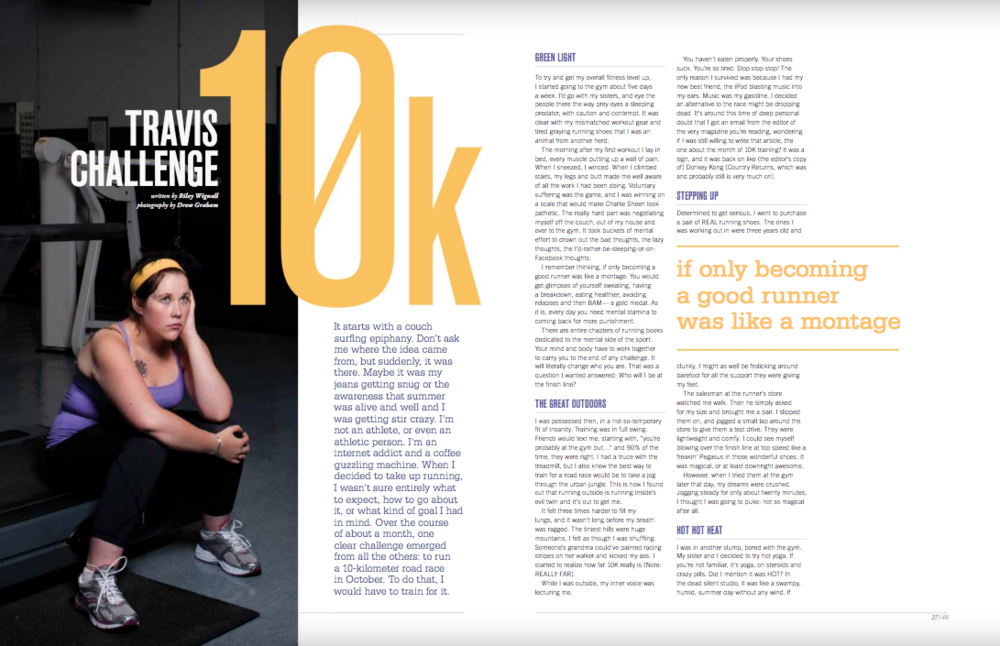 Magazine spread about my first 10K