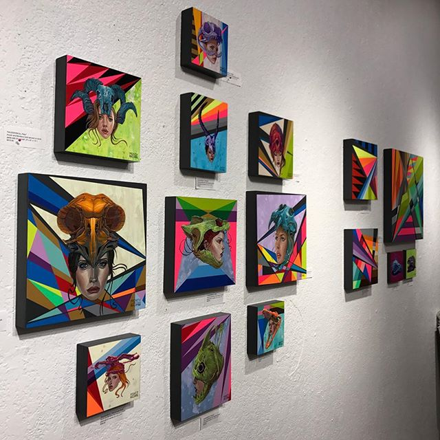 Center | Right wall view of the collaborative and solo works by  @tony_philippou and @montymontgomery from the #kaleidoskull exhibition at @redefinearts in @orlando . The first @kaleidoskullart exhibit opened in March 2017 and the duo is currently working on new pieces for an upcoming exhibition in 2019!  Stay tuned for the launch of kaleidoskullart.com  #montymontgomery #tonyphilippou #redefinegallery #neofuturism #newcontemporaryart  #urbancontemporary #montanacans #neogeometric #sandiego #orlando