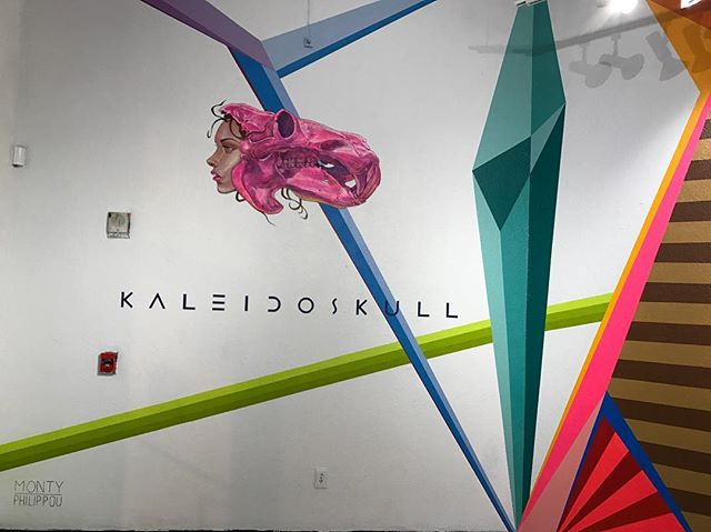 "A cropped view of the main wall featuring the @kaleidoskullart Hippo mural completed by @montymontgomery and @tony_philippou in early March 2017 for the ""Kaleidoskull"" exhibition that opened on March 16, 2017 @redefinearts in @orlando • Check tonyphilippou.com to enjoy the ""Kaleidoskull"" section of his  gallery and visit the ""Kaleidoskull Project"" in the ""Portfolio"" section on montymontgomeryart.com to view the works.  #kaleidoskull #montymontgomery #tonyphilippou  #newcontemporary #redefinegallery #urbancontemporary #neofuturism #contemporaryart #graffuturism #modernabstract #abstractart #muralism #montanacans #liquitex"