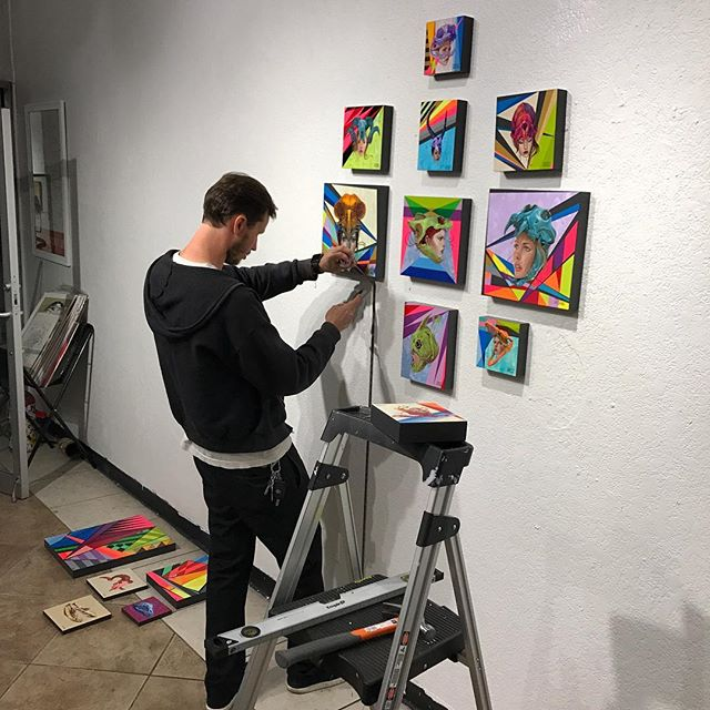 @parkerart hanging the original ten #kaleidoskull collab works by @tony_philippou | @montymontgomery at @redefinearts in @orlando . The first @kaleidoskullart exhibition opened this past March and the duo is currently working on new pieces! Stay tuned for the launch of kaleidoskullart.com #tonyphilippou #montymontgomery #redefinegallery #kaleidoskull #neofuturism #newcontemporaryart  #urbancontemporary #montanacans #neogeometric