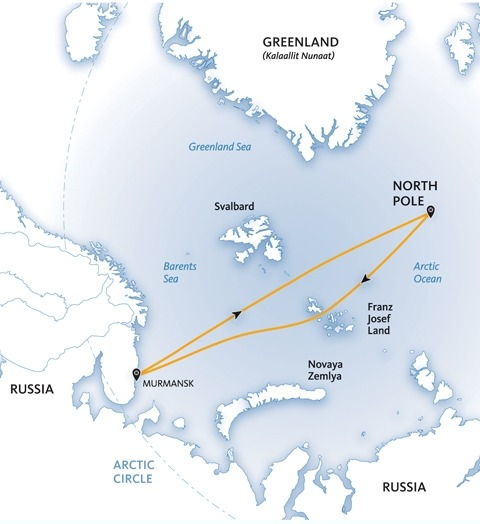 Map of our route to the North Pole.