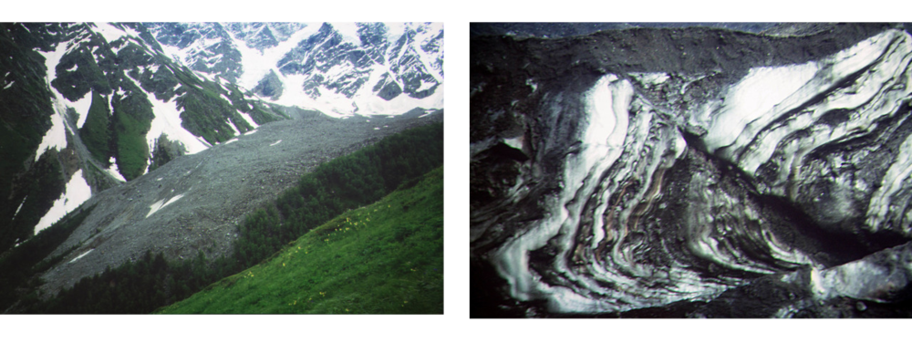 The image on the left is a debris glacier and on the right is an example of permafrost layers within a glacier.