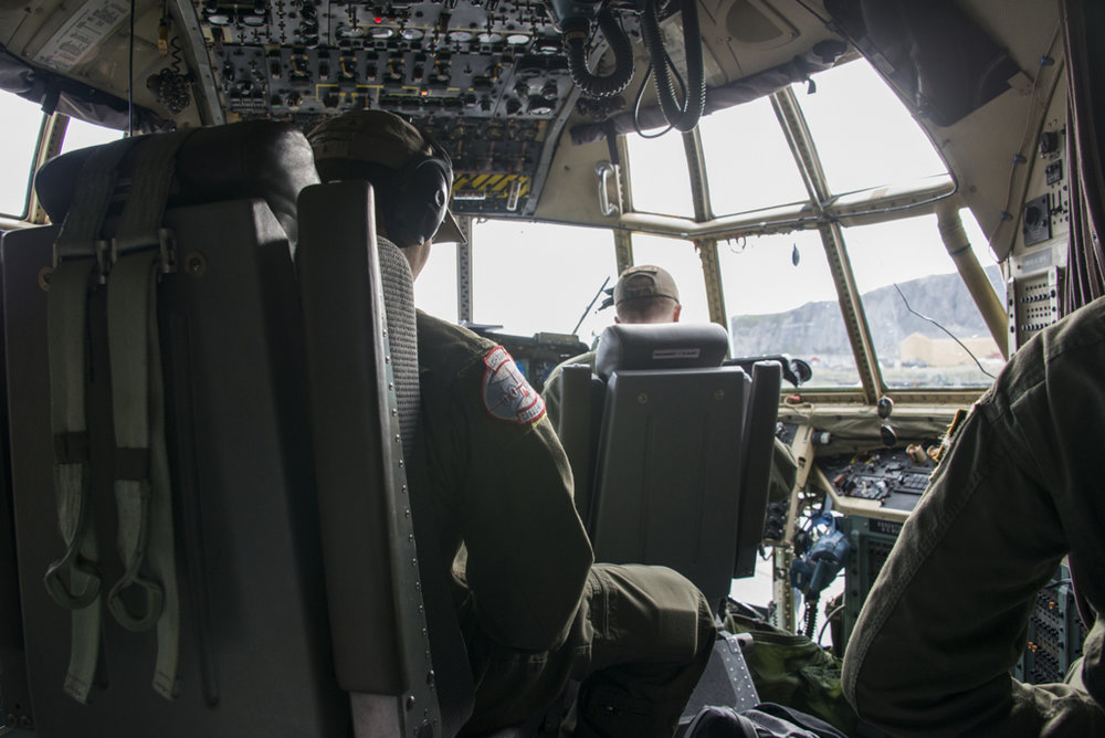Cockpit inside LC-130 Hercules