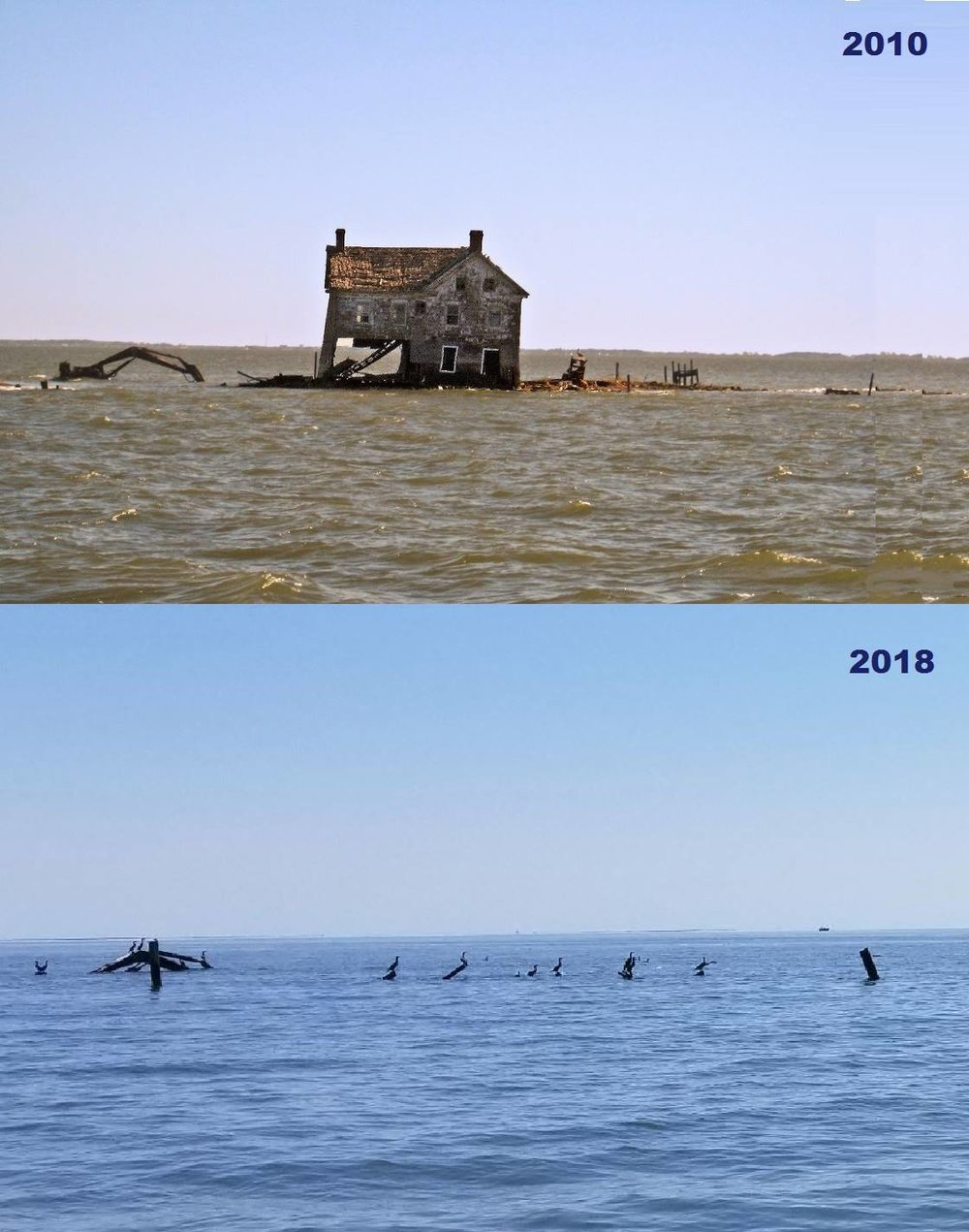 Last house on Holland Island 2010 vs. 2018  Image courtesy David Pietroski.