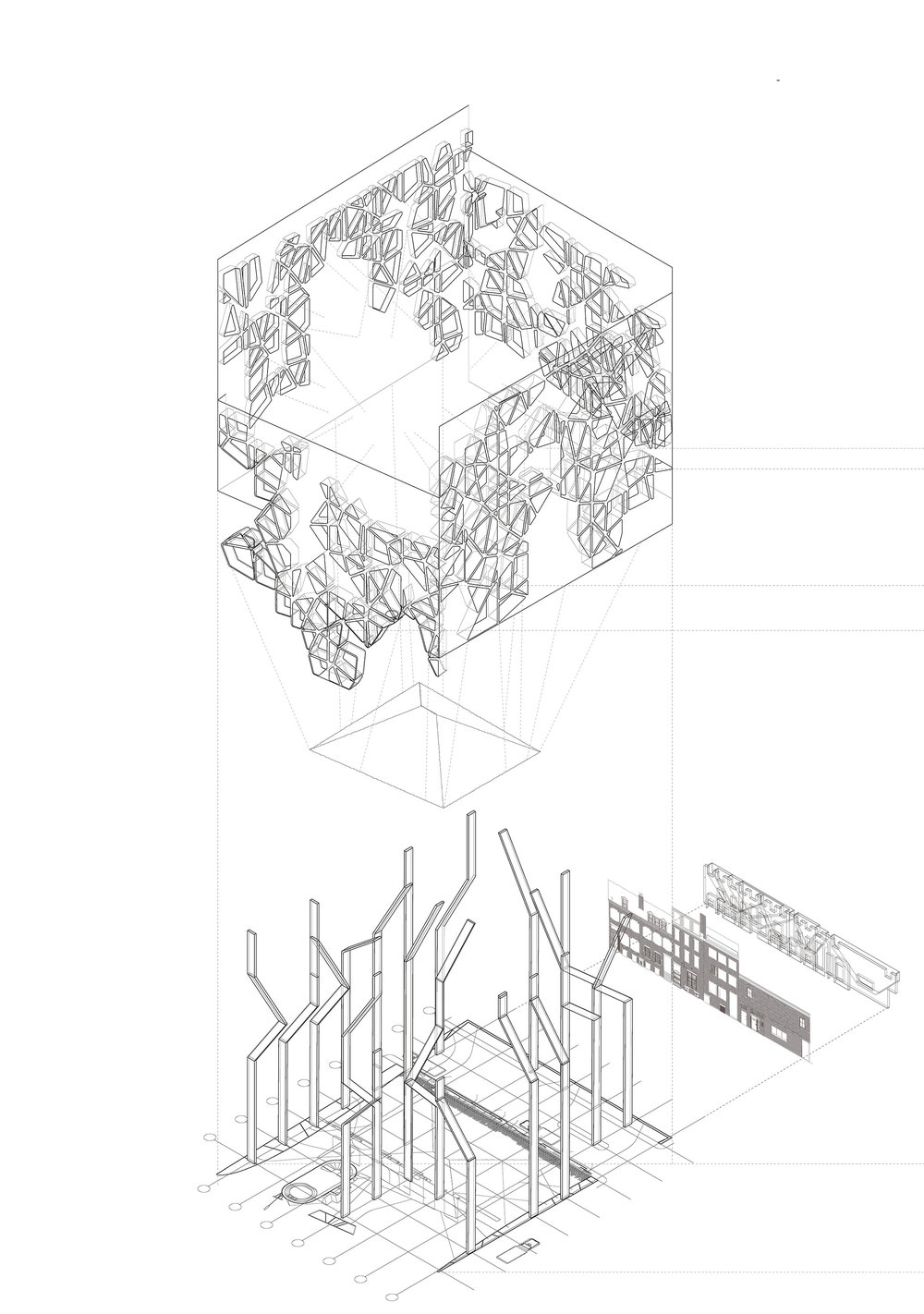 Exploded axonometric showing the façade, the salt pile, and the columns.