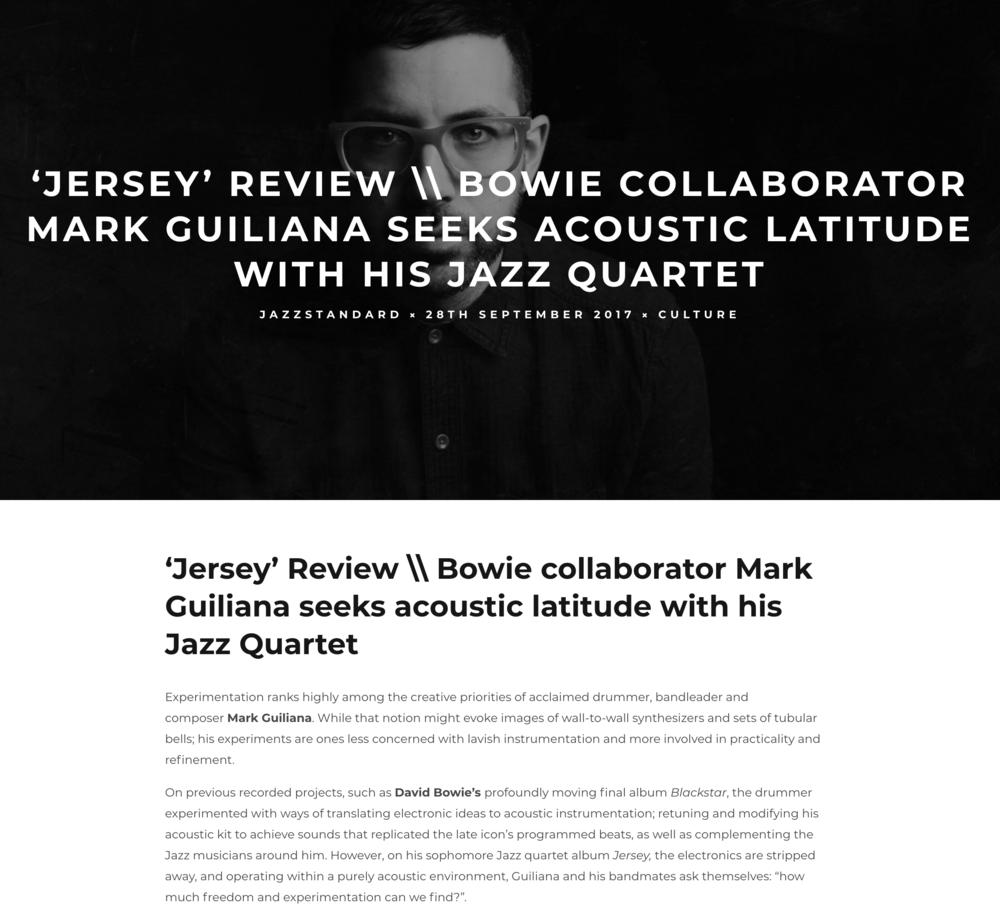 Mark Guiliana Jazz Quartet - 'Jersey' review - For EZH Magazine. September 2017.