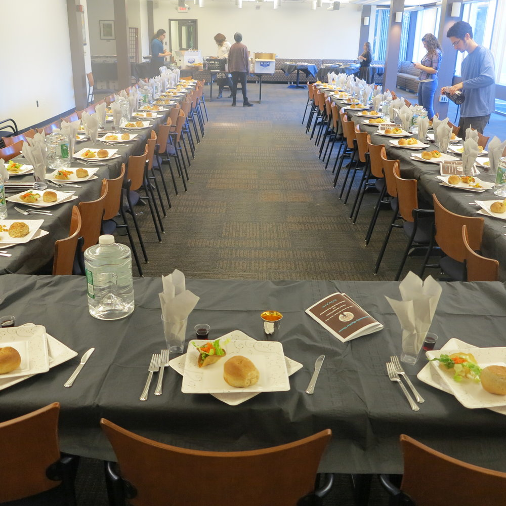 Mega Shabbat Dinner table set for 75 Students