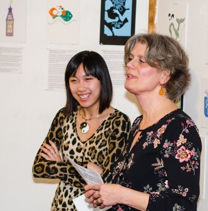 Lilu Shaughnessey (L) winner of the Festival Logo contest with Maggi Smist (R) - Co Chair of the Logo Contest