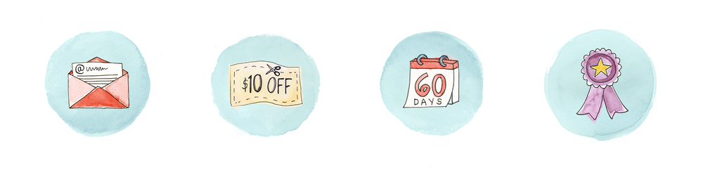 watercolor icons for retailer Tuesday Morning's website
