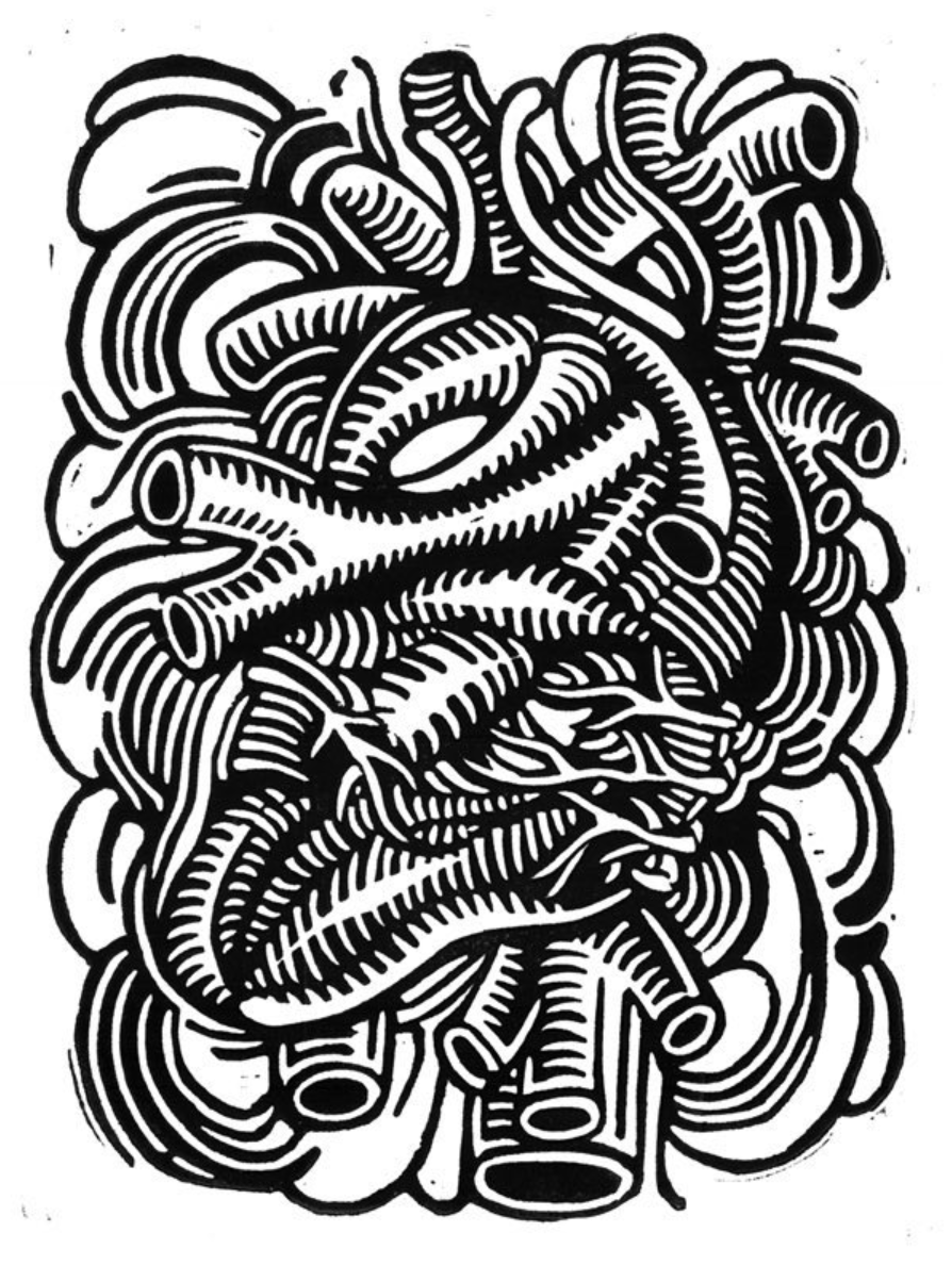 hand-carved linocut