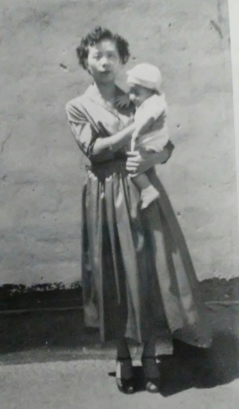 Mrs. Dere with eldest son 1949.jpg