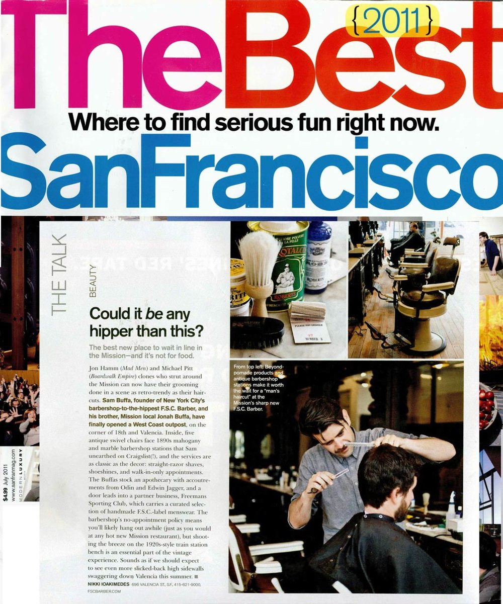San Francisco Magazine - 2011Featured: Fellow BarberView PDF