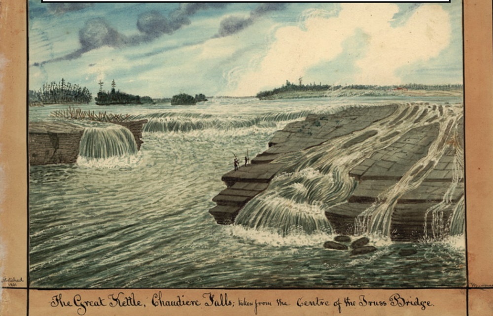 "This 1831 watercolour depicts the ""Great Kettle"" Falls when it was a prime tourist attraction."