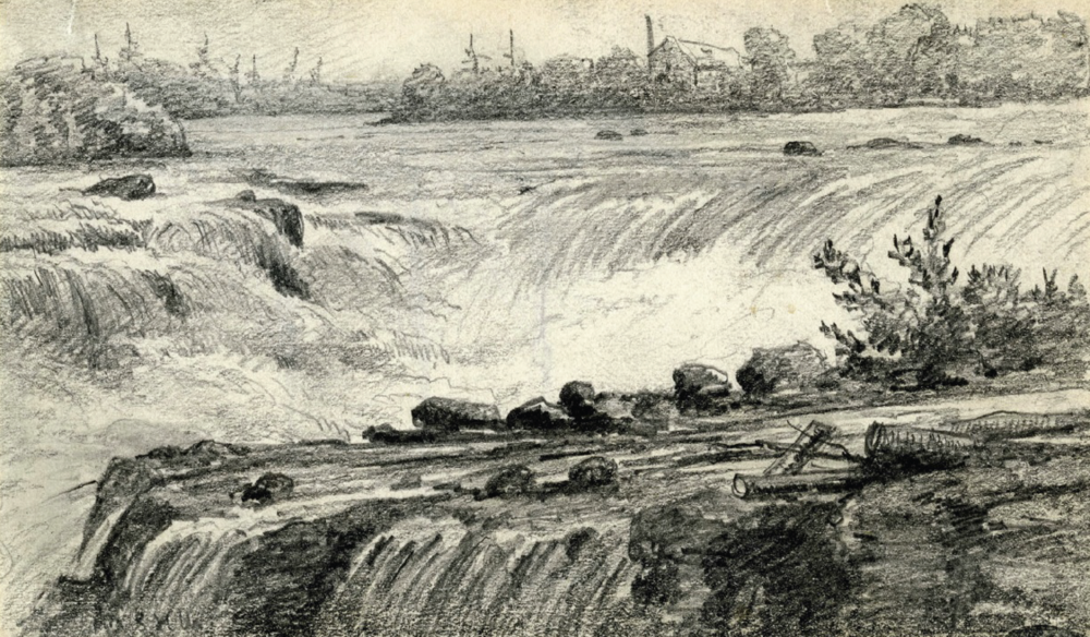 This pen and ink drawing of Chaudière Falls is part of the Toronto Public Library'sarchives.