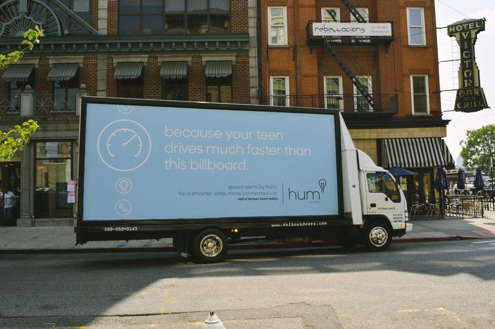 Mobile Billboard driving around key markets: