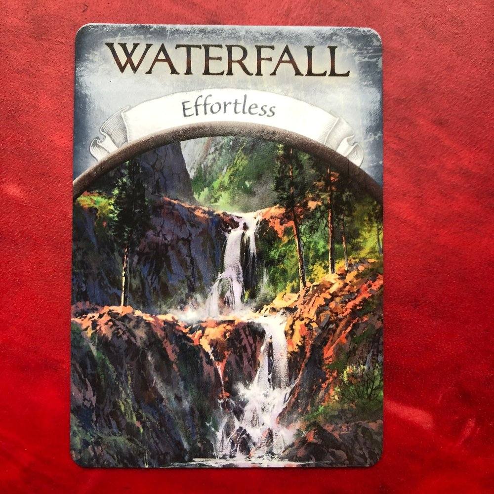 Oracle Card - Earth Magic by Steven FarmerWaterfall for EffortlessThe waterfull brings gracefulness & powerfulness.It speaks to flowing around that which would otherwise impede. It further speaks to the carving the landscape over time.Finding even ease at the edge of your comfort zone rather than struggle.