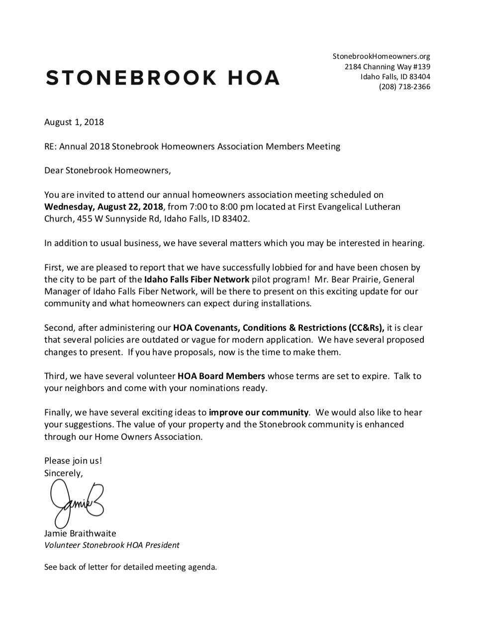 SBHA President Letter August 2018 — Stonebrook HOA