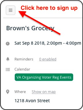 If you're having trouble finding the Sign Up button, you can click on the three bars in the upper left hand corner.