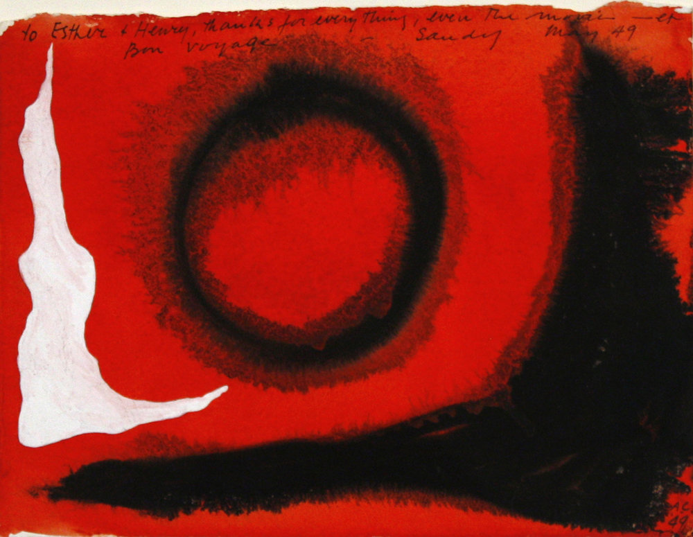 Alexander Calder, Gouache and ink on paper, Signed, dedicated and dated, 9 x 12 inches.