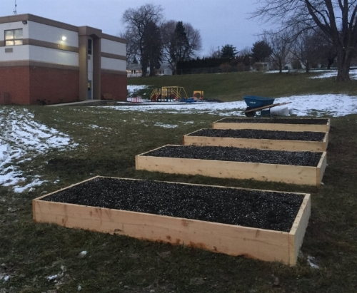 Completed raised beds, December 2017, Jewish Day School of the Lehigh Valley