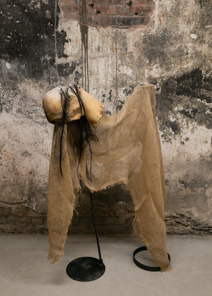Naotaka Hiro  Two Mouths , 2013 Latex, burlap and steel 47 x 28 x 16 inches