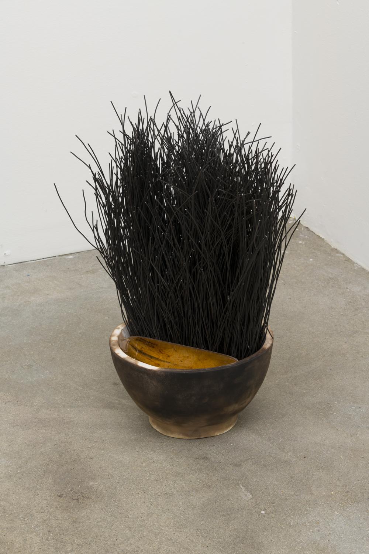 Nick Sullivan  Mortar , 2018 Ceramic, urethane plastic and steel 19 x 10 x 10 inches