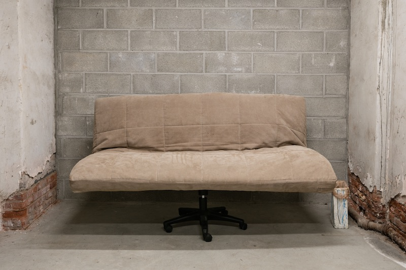 Chris Zacher  Couch , 2018 Futon, office chair, wood and hardware 72 x 42 x 36 inches