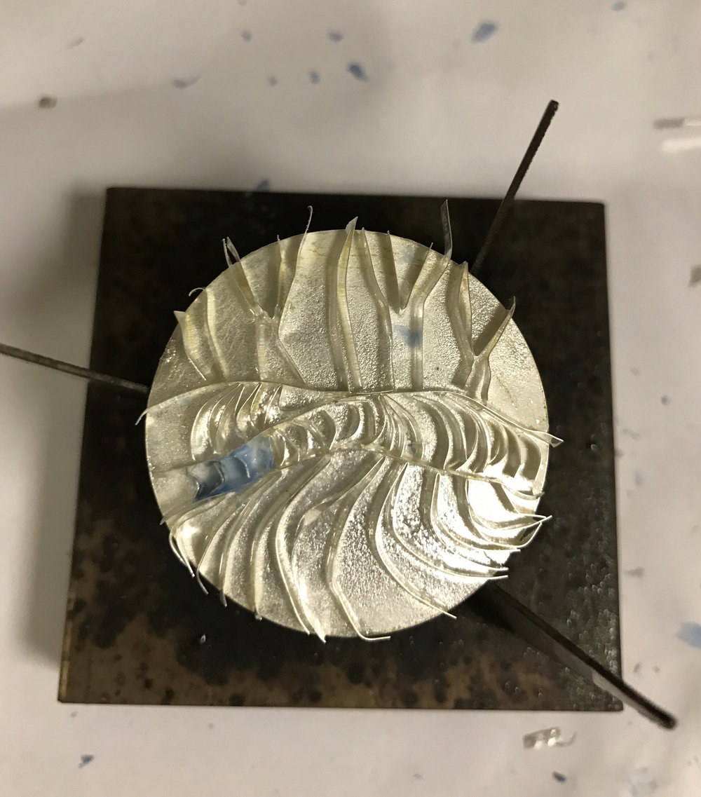 ...All wires in place on top of layer of clear enamel, ready for the first firing to adhere wires to enamel and surface of fine silver.