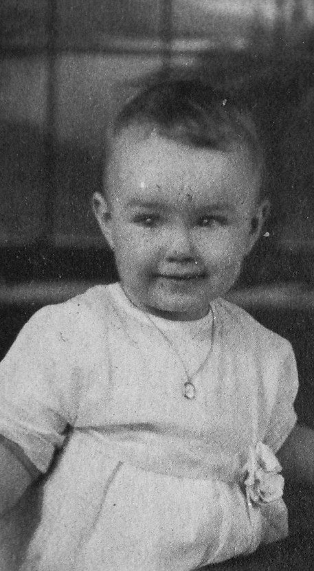 """.......My mother at one year old wearing her baby necklace.  My grandfather was blessed with 2 daughters. One of his favorite places to shop for the women in his life was the local jewelry store....Got to LOVE a man like that! He purchased the baby necklace my mother wears in this photo.  When it came time for my mother to marry, she decided that her """"something old"""" would be that very special gift, her baby necklace. Rather than wearing it as a necklace, she wrapped the delicate chain around her wrist and wore it as a bracelet."""