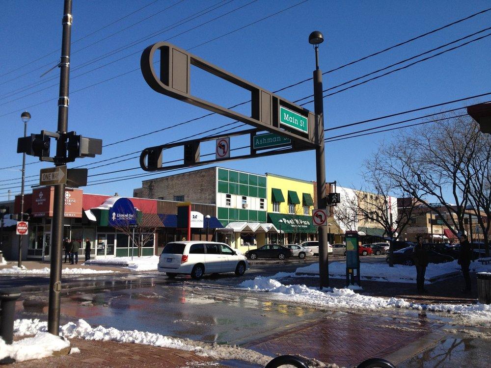 A snowy downtown Midland