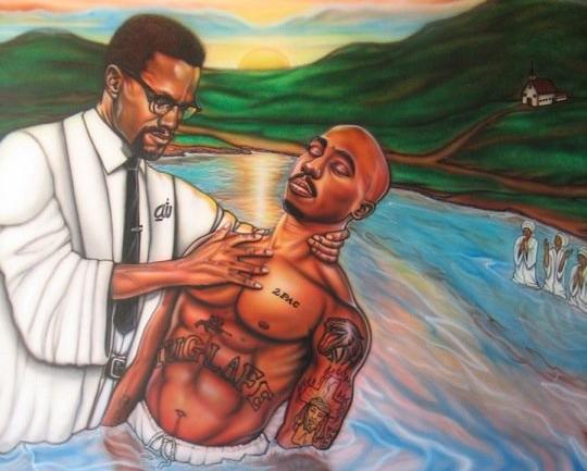 malcolm x baptizing tupac.jpeg