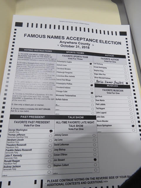 7. Side one: make sure you vote in each section.