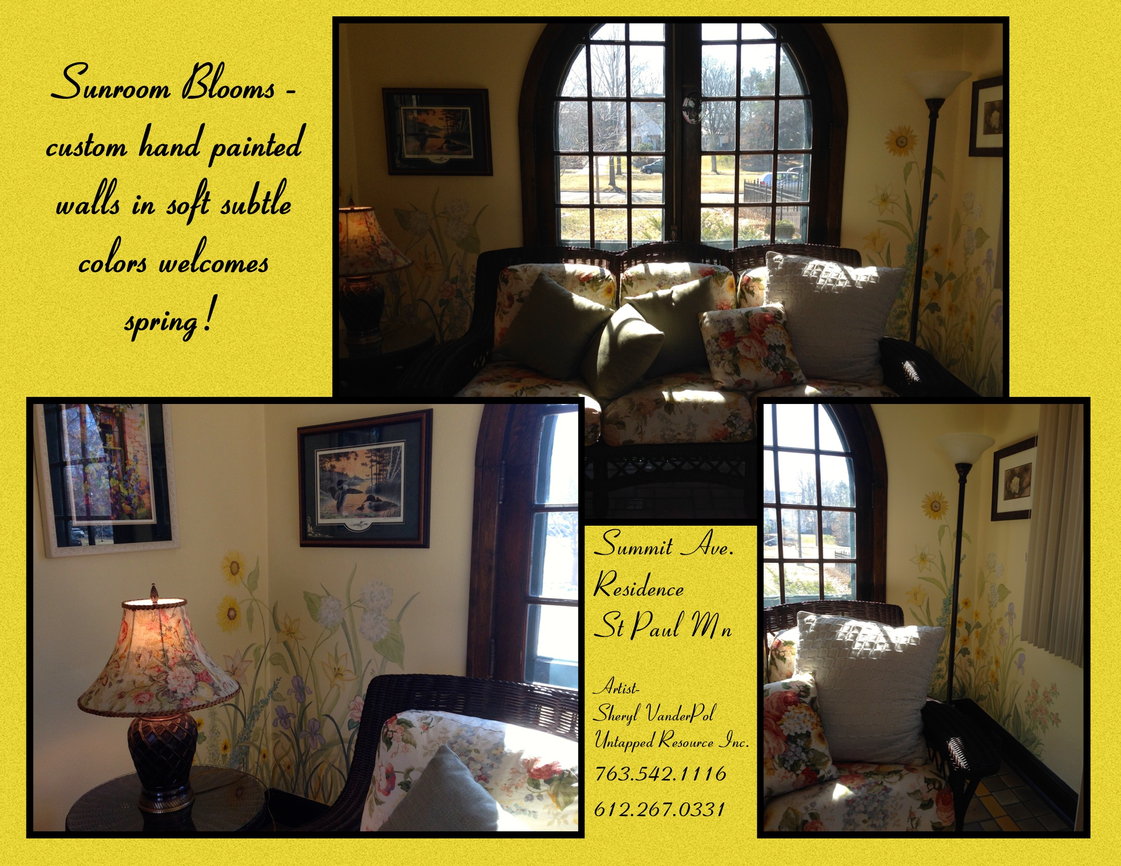 Hand painted murals, nature, florals