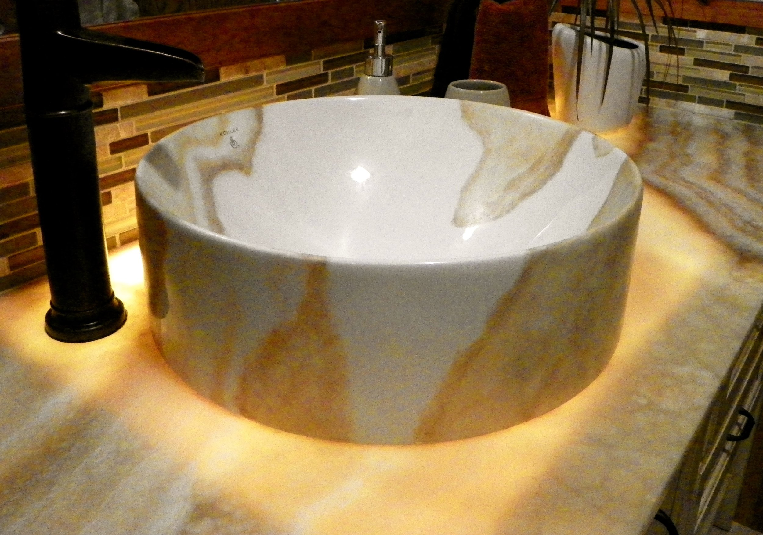 Kohler vessel sink, hand painted and fired to beautiful permanency.