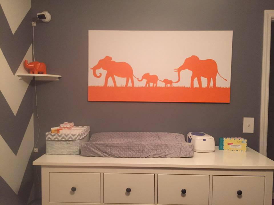 Elephant Family Canvas - for the nursery
