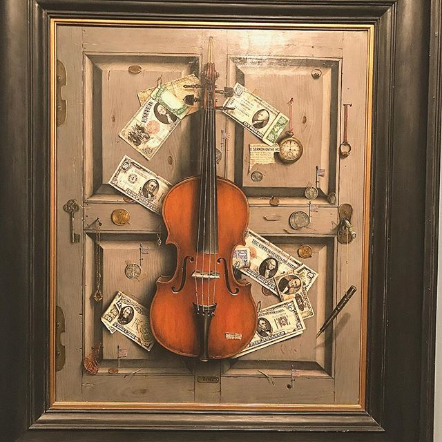 "A piece of artwork called ""U.S. Musical Notes"" by Otis Kaye is preserved at the Columbus Museum of Art. Music and Money are themes that we both have in common! 💰🎼💰#art #oil #pastel #paint #preservation #columbus #ohio #museum #music #money #usa"