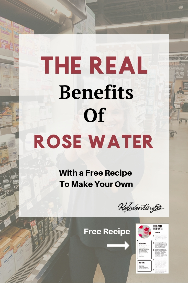 Rose water isn't just for your skin.  You drink it too!  The benefits of rose water will amaze you.  #rosewater #health #beauty