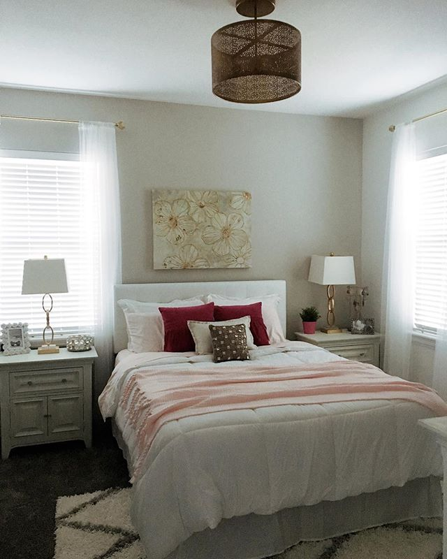 Finally! The clothes are all put away and my new little slice of girly heaven is complete. I chose deep pink and brassy gold as my accent colors this time. Loving the peaceful feeling in here.💗 #interiordesign #decorator #masterbedroom #glam #modern #white #designer #remodel #newhome #modernglamour #condoliving #organized #dreamer #accessorize #whitebedding #girlpower #stylized #design #trendy #pink
