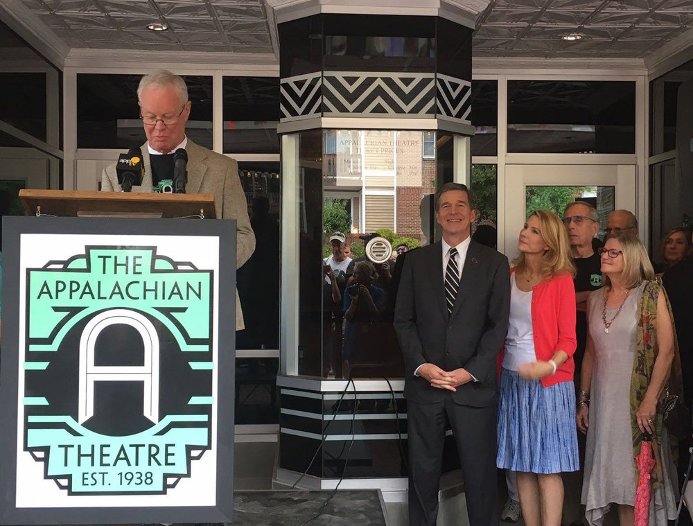 North Carolina Governor Roy Cooper visited the Appalachian Theatre of the High Country in August 2017. Photo by Kate Cahow.