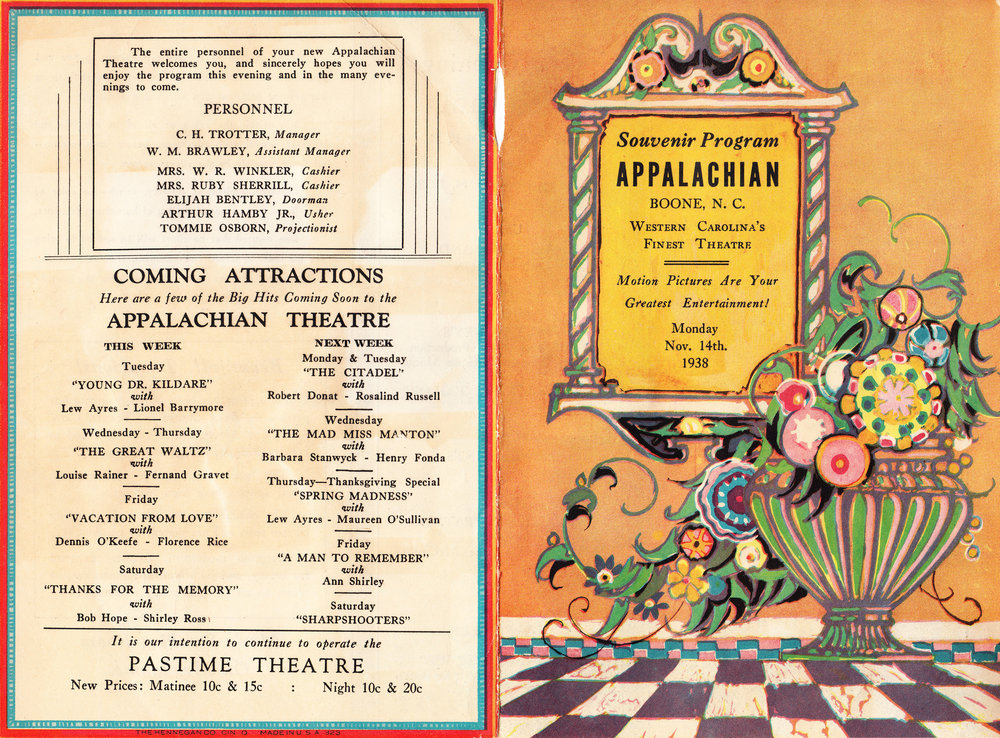 Cover pages from the Souvenir Program for the Appalachian Theatre's Gala Opening, November 14, 1938.