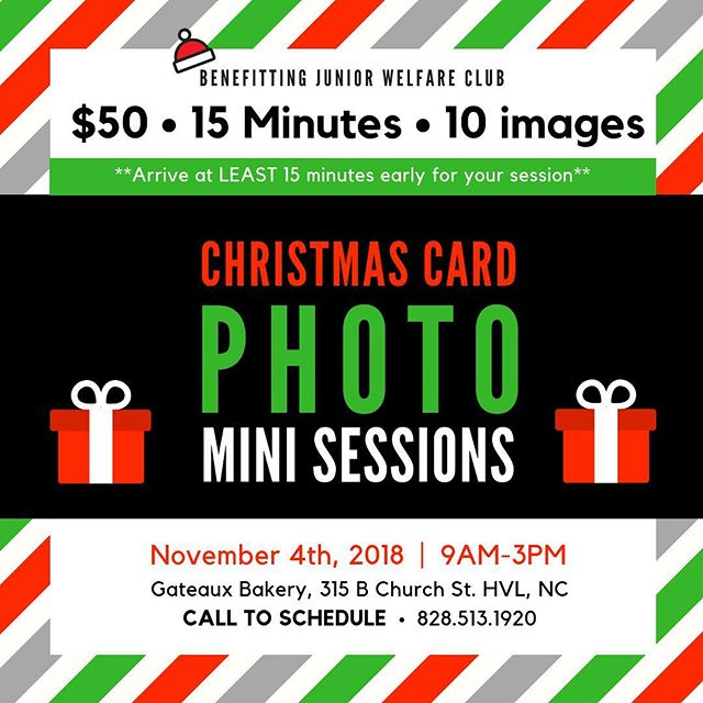 Guys!!!! We are doing Christmas mini sessions on Sunday, November 4th at @gateauxcakesandpastries downtown! $50/15 minutes/10 images! Call 828-513-1920 to schedule your time slot, they're going fast!