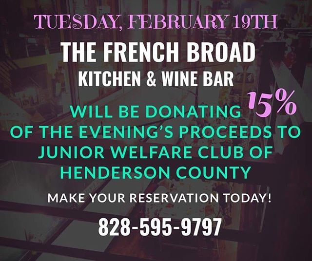We're having a fundraiser at @the_frenchbroad to benefit children and classrooms in Henderson County! Come on out to show your support and have a delicious meal!