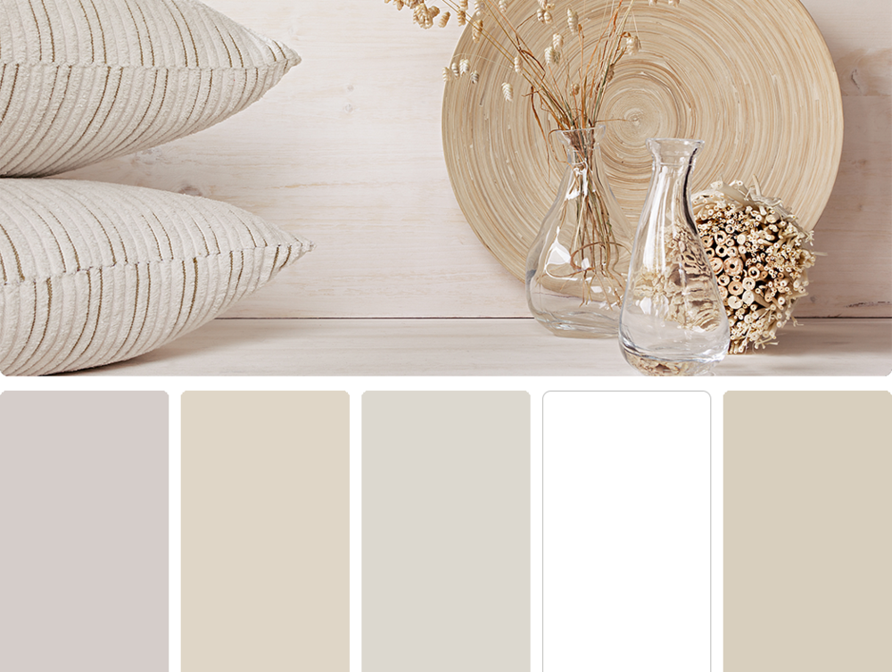 Sherwin Williams – Individual White (SW 6008), Sherwin Williams – Kestrel White (SW 7516), Sherwin Williams – Drift of Mist (SW 9166), Sherwin Williams – High Reflective White (SW 7757), Sherwin Williams – Grecian Ivory (SW 7541)