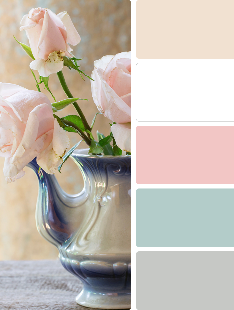 Sherwin Williams – Choice Cream (SW 6357), Sherwin Williams – High Reflective White (SW 7757), Sherwin Williams – Bella Pink (SW 6596), Sherwin Williams – Watery (SW 6478), Sherwin Williams – Tinsmith (SW 7657)