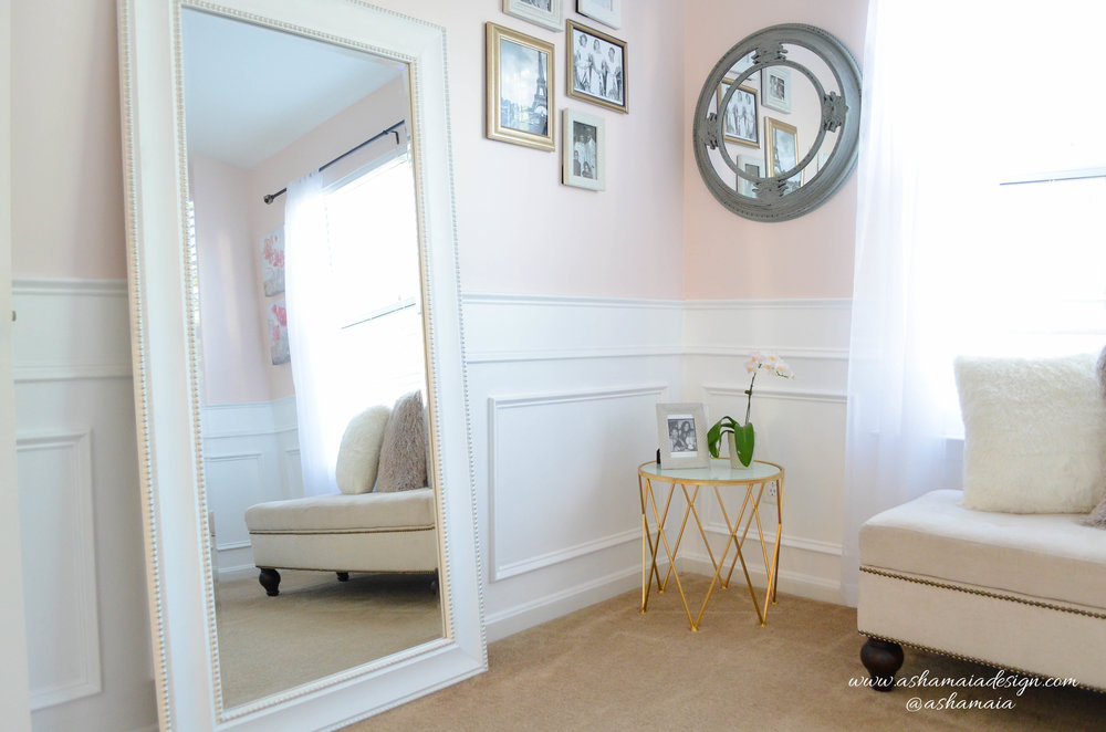 Intimate White Parisian Style Elegant Beauty Room with White Wainscoting, Large White Full Body Mirror, Picture Frame Wall Gallery and Gold Gilded Side Table