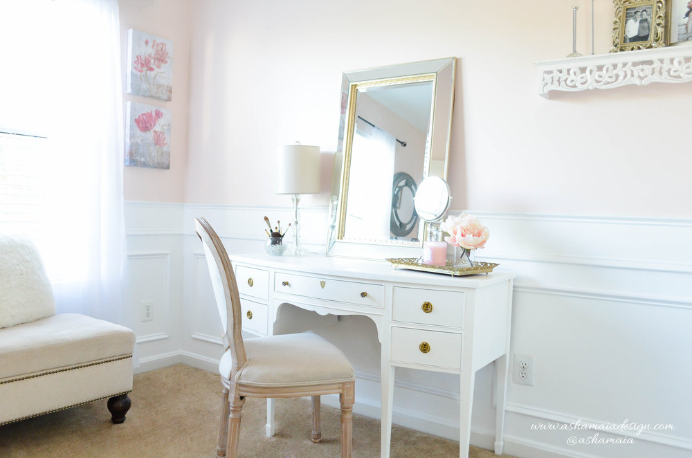 Intimate White Parisian Style Elegant Beauty Room with Traditional Makeup Vanity, King Louis Chair and Gold Gilded Mirror
