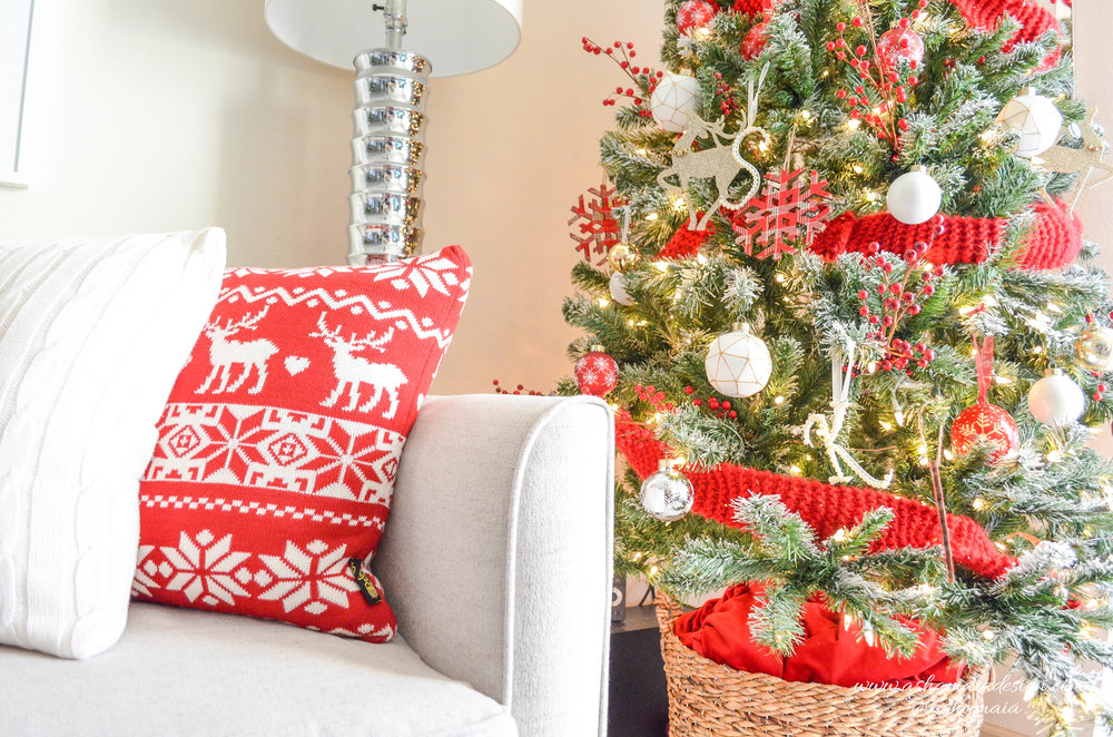 Warm & Cozy Christmas Living Room Decor with Christmas Sweater Throw Pillows and Christmas Tree